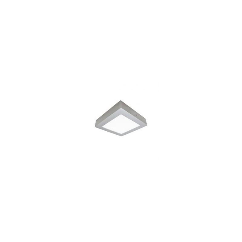 Plafonnier LED - 12W, carré, argenté