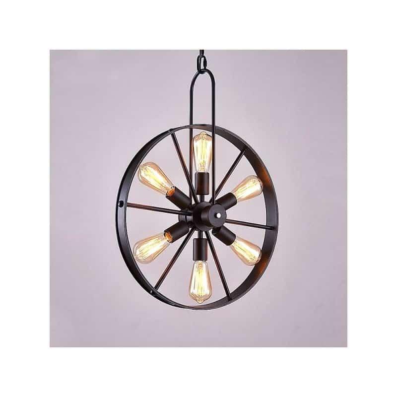 Lampe suspendue roue métallique