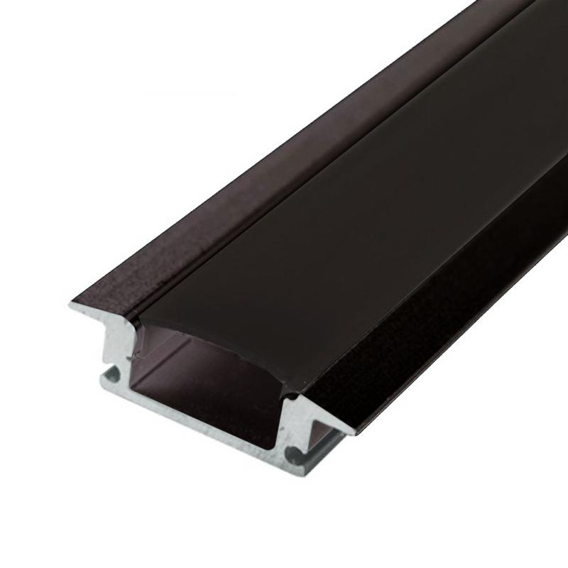 Profilé alu encastrement Noir Ruban LED