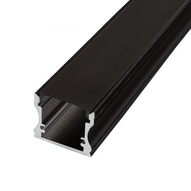 Profilé alu rectangulaire Noir Ruban LED