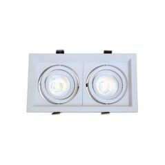 Double Spot orientable AR60 carré Blanc