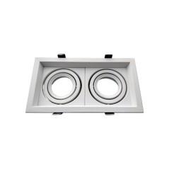Double Spot orientable GU10 carré Blanc